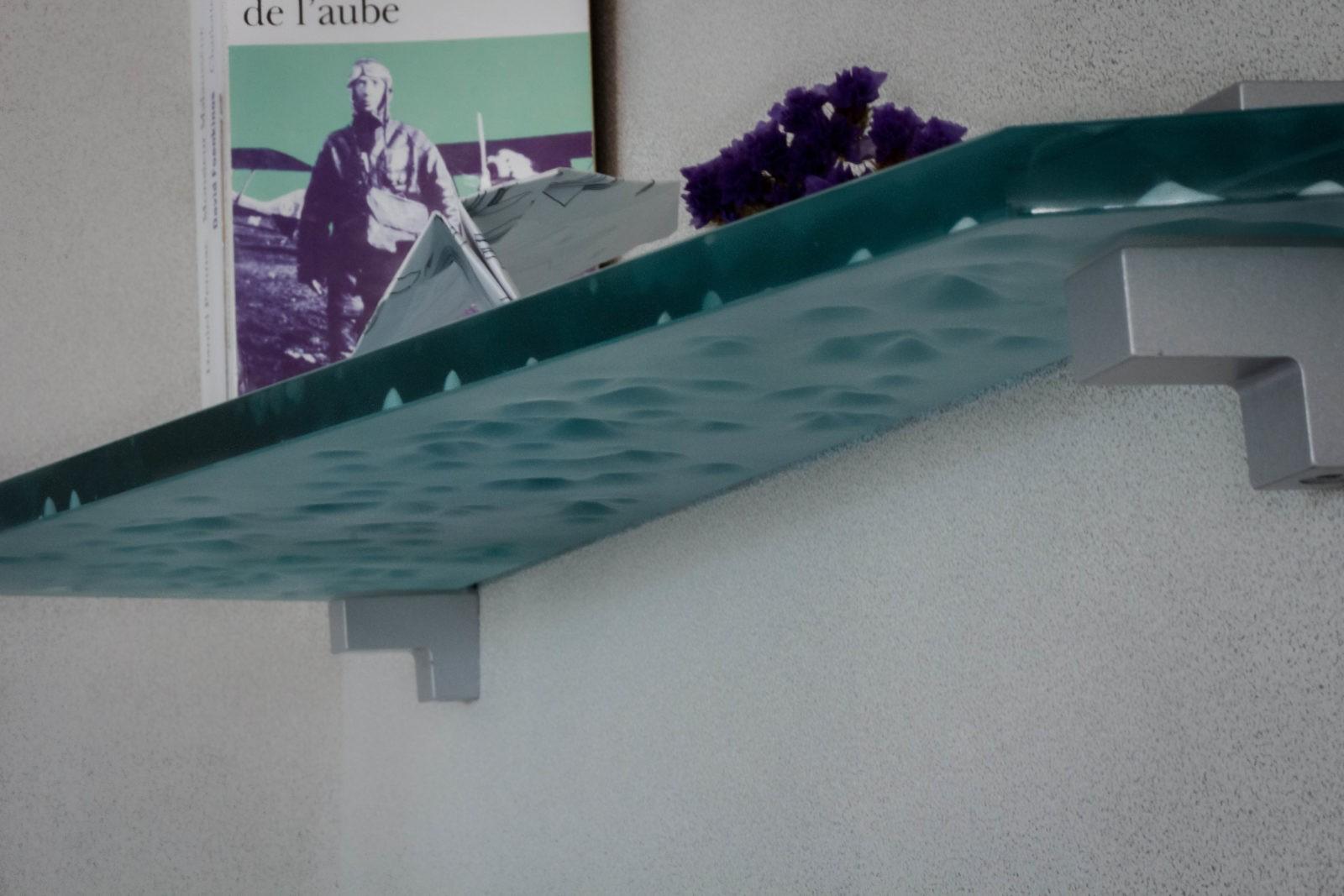 Etagère verre sablage montagne intérieur